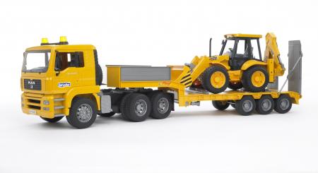 Camion MAN TGA cu platforma încarcatura mica si buldoexcavatoar JCB 4CX inclus - 86 x 18 x 24 cm0