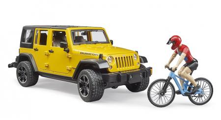 Jucarie Jeep Wrangler Rubicon cu bicicleta si figurina biciclist, Bruder [3]
