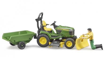 Jucarie Bworld tractor de tuns iarba cu remorca si figurina gradinar, Bruder [2]