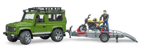 Jucarie Land Rover Defender cu remorca transport + motocicleta si pilot2