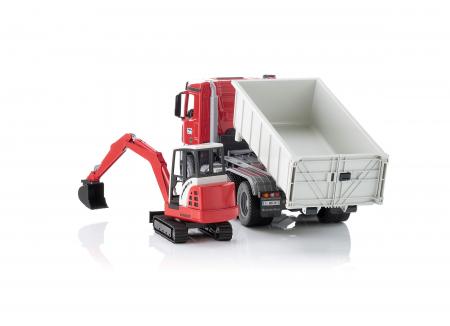 Jucarie camion Mercedes Benz Arocs cu container detasabil si mini excavator Schaeff, Bruder [2]