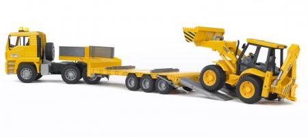 Camion MAN TGA cu platforma încarcatura mica si buldoexcavatoar JCB 4CX inclus - 86 x 18 x 24 cm1