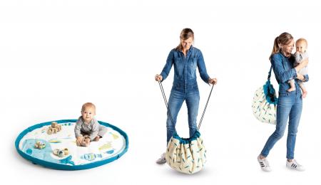 Saltea de joaca bebe si rucsac portabil 3 in 1 Play&Go cu print Moulin Roty Olga [3]