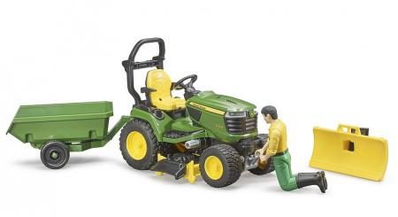 Jucarie Bworld tractor de tuns iarba cu remorca si figurina gradinar, Bruder [3]