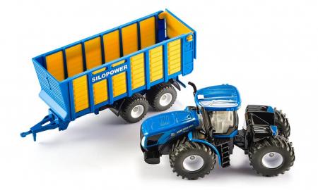 Jucarie macheta tractor New Holland cu remorca, Siku [2]