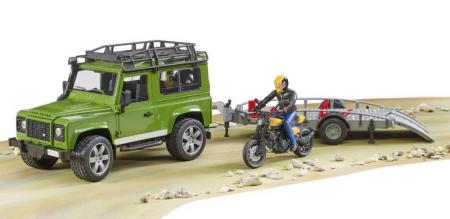 Jucarie Land Rover Defender cu remorca transport + motocicleta si pilot3