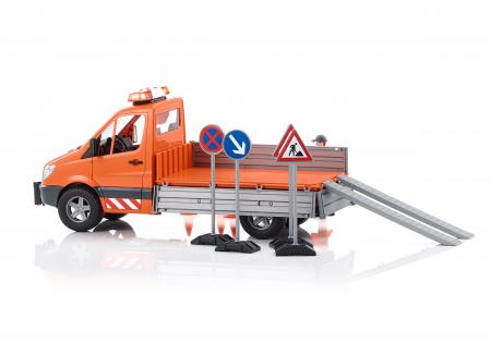 Jucarie vehicul utilitar Mercedes Benz Sprinter municipal cu accesorii + modul de lumini si sunet - 40.8 x 18 x 18.8 cm3