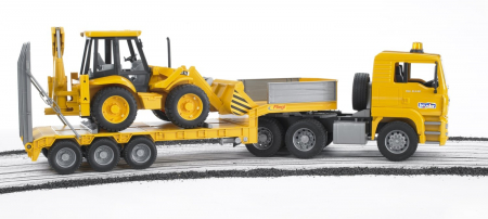 Camion MAN TGA cu platforma încarcatura mica si buldoexcavatoar JCB 4CX inclus - 86 x 18 x 24 cm2