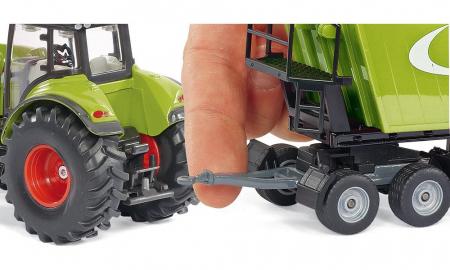 Jucarie macheta tractor Claas Axion cu incarcator frontal si basculanta, Siku [4]