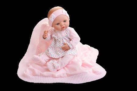 Papusa handmade bebelus fata Arrullo Rosa, colectia New Born Special - 45cm0