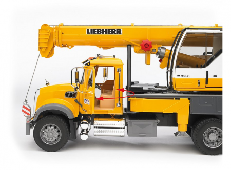 Jucarie Camion cu macara Mack Granite Liebherr - 66.0 x 18.5 x 27.0 cm3