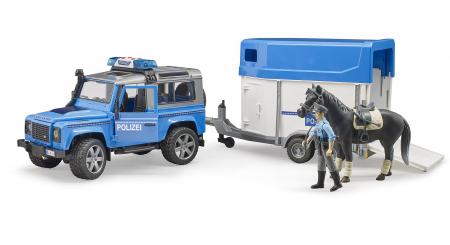 Set jucarie Land Rover Defender masina de politie cu trailer pentru cai, cal si figurina politist cu accesorii [1]