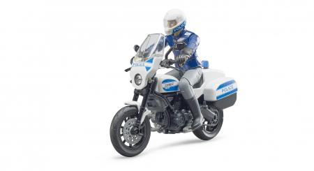 Jucarie motocicleta politie Ducati Scrambler + figurina politist - 13.6 x 6.3 x 9.5 cm0