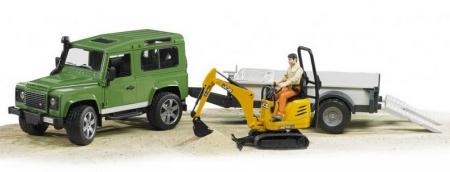 Jucarie Land Rover Defender cu remorca si mini excavator + figurina muncitor - 61.0 x 16,6 x 15,3 cm1
