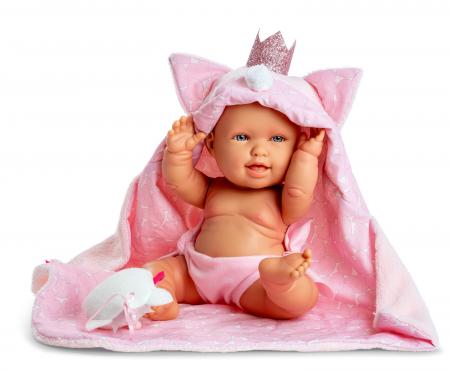 Bebelus fata Pirri cu accesoriu paturica capa si plus, colectia Andrea - 38 cm0