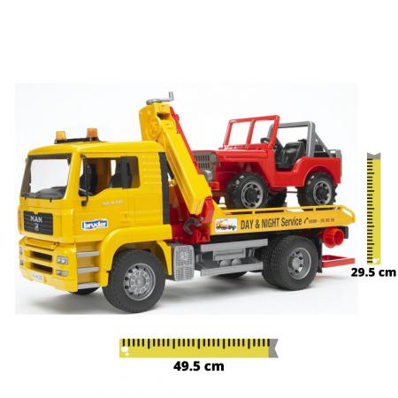 Camion galbem MAN TGA de tractare cu vehicul de teren rosu, Bruder [0]