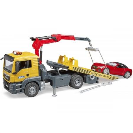 Jucarie camion platforma de tractare Man TGA cu modul de lumini si sunet+ masina Roadster Bruder3