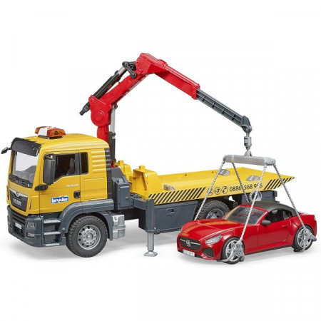 Jucarie camion platforma de tractare Man TGA cu modul de lumini si sunet+ masina Roadster Bruder4
