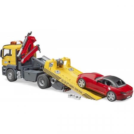 Jucarie camion platforma de tractare Man TGA cu modul de lumini si sunet+ masina Roadster Bruder5