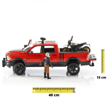 Set masina RAM 2500 cu motocicleta Ducati sport si figurina pilot cu accesorii, Bruder [0]
