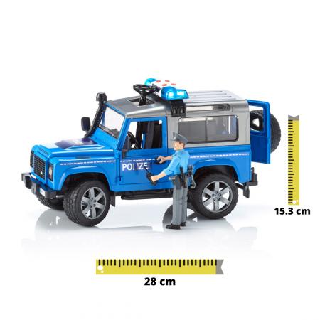 Vehicul Jeep Land Rover Defender de politie cu modul de lumini si sunet si figurina politist Bruder [0]