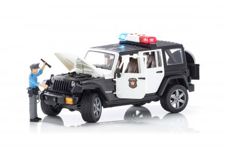 Jeep Wrangler Rubicon, masina de politie, modul de lumini si sunet + figurina politist - 32.9 x 14.4 x 16.2 cm3