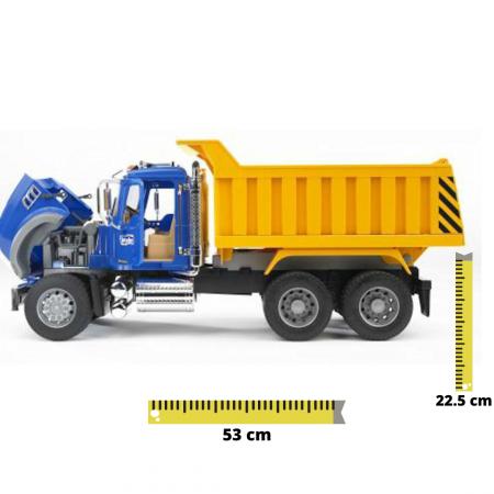 Camion basculant Mack Granite Bruder cu elemente cromate si functii reale [0]