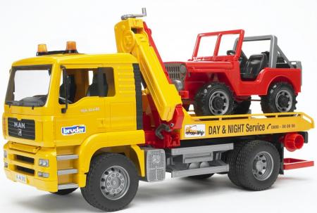 Camion de tractare MAN TGA cu vehicul de teren - 49,5 x 18,5 x 25,5 cm0