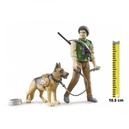 Jucarie figurina padurar cu echipament si figurina caine, Bruder [0]