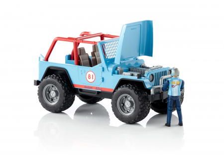 Jucarie Jeep Cross Country racer albastru + figurina pilot - 29.5 x 15 x 15 cm2