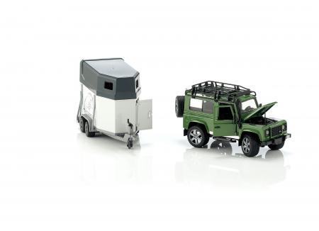 Jucarie Jeep Land Rover Defender cu remorca pentru transport cai + figurina cal inclusa - 61,5 x 14 x 18,5 cm2