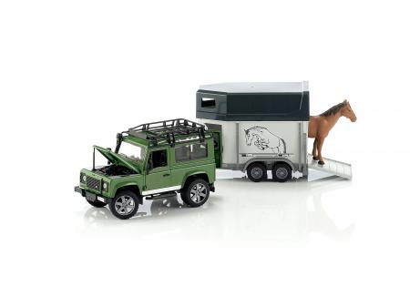 Jucarie Jeep Land Rover Defender cu remorca pentru transport cai + figurina cal inclusa - 61,5 x 14 x 18,5 cm0