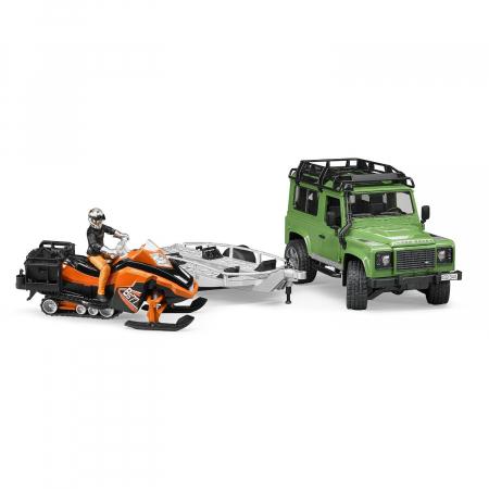Jucarie Jeep Land Rover Defender cu trailer, snowmobile si accesorii - 28,8 x 15,3 x 15,3 cm2