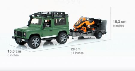 Jucarie Jeep Land Rover Defender cu trailer, snowmobile si accesorii - 28,8 x 15,3 x 15,3 cm3