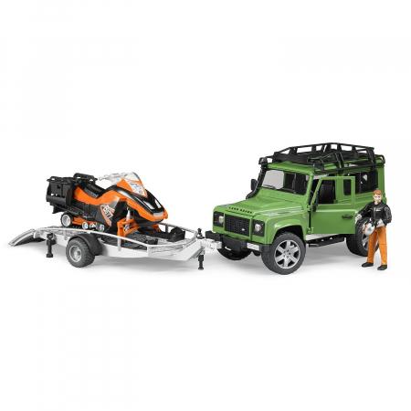 Jucarie Jeep Land Rover Defender cu trailer, snowmobile si accesorii - 28,8 x 15,3 x 15,3 cm0
