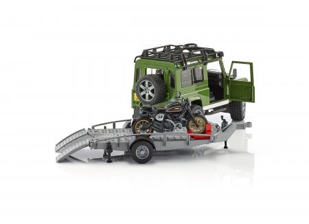 Jeep Land Rover Station Wagon,trailer si motocicleta Ducati -  55.5 x 15 x 15.3 cm3
