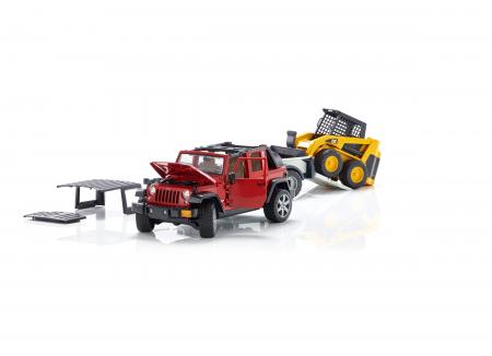 Masina tip Jeep Wrangler Unlimited rosie cu remorca de transport si mini buldozer CAT, Bruder [4]