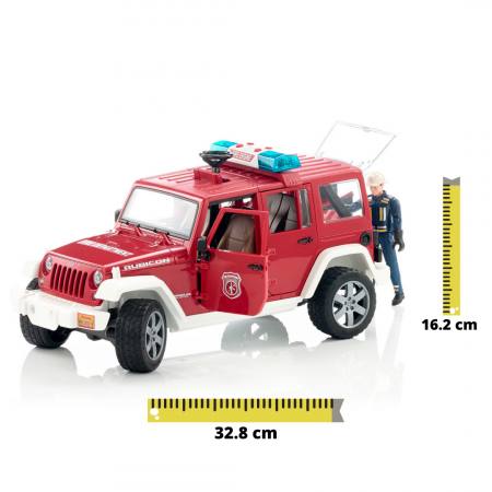 Vehicul Jeep Wrangler de pompieri cu figurina pompier Bruder [0]