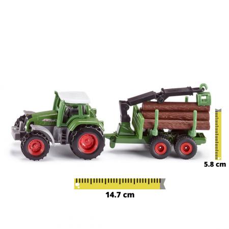 Jucarie macheta tractor forestier cu remorca, Siku [0]