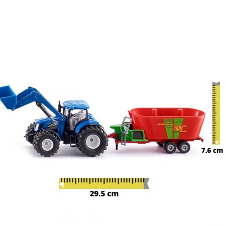 Jucarie macheta tractor New Holland cu incarcator frontal și malaxor de furaje Strautmann, Siku [0]