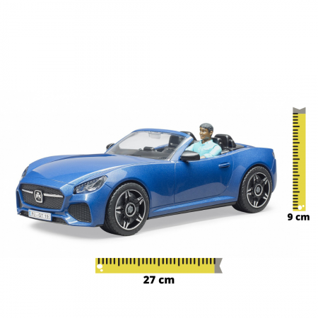 Jucarie masina Roadster albastra cu figurina sofer, Bruder [0]