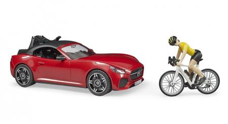 Jucarie masina Roadster cu bicicleta si figurina biciclist, Bruder [2]