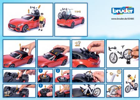 Jucarie masina Roadster cu bicicleta si figurina biciclist, Bruder [5]