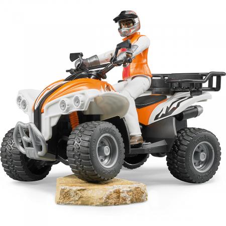 Jucarie Moto ATV cu pilot Bruder - 16 x 9,3 x 9,3 cm3