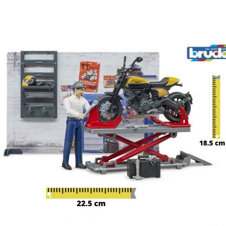 Jucarie service motociclete cu motocicleta Ducati Full Throttle Bworld si mecanic, Bruder [0]