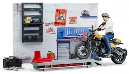 Jucarie service motociclete cu motocicleta Ducati Full Throttle Bworld si mecanic, Bruder [2]