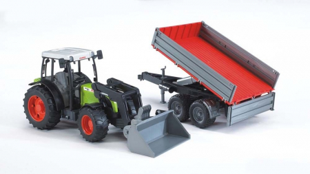 Jucarie Tractor Claas Nectis cu incarcator frontal si remorca basculabila. Dimensiuni 65.5 x 12.9 x 15 cm0