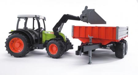 Jucarie Tractor Claas Nectis cu incarcator frontal si remorca basculabila. Dimensiuni 65.5 x 12.9 x 15 cm3