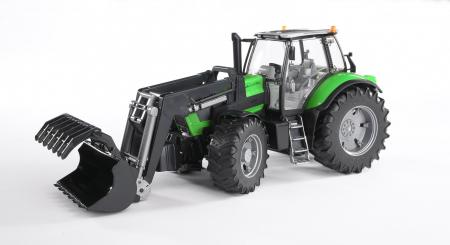 Tractor Deutz Agrotron verde cu incarcator frontal, suspensie si cupla pentru remorca, Bruder [1]