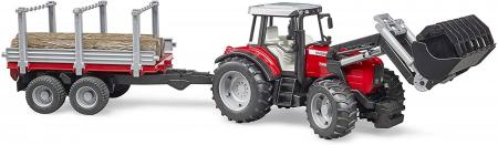 Jucarie Tractor Massey Ferguson, cu incarcator frontal si remorca pentru lemne - 37.5 x 15.5 x 17 cm2